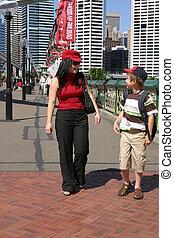 都市, 散歩, 2人の人々