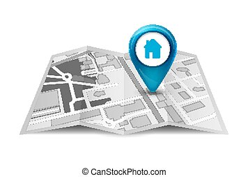 都市, 方向, ピン, サービス, 地図, concept., 通り, デザイン, 見通し, マーカー, gps, 3d