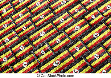 都市, 旗, グランジ, ウガンダ, パターン