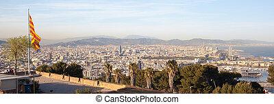 都市, 旗, 航空写真, バルセロナ, 光景