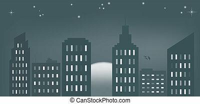 都市, 日没, シアン
