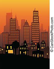 都市, 日没