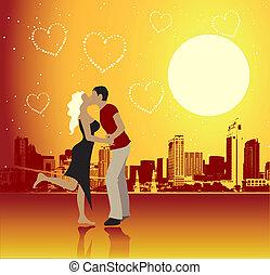 都市, 日, 現場, 恋人, バレンタイン