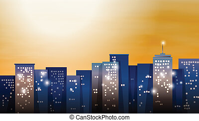 都市, 明るい, 光景