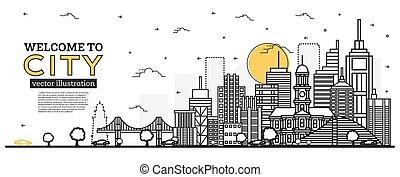 都市, 木。, 風景, 都市 スカイライン, illustration., アウトライン, panorama., オフィスビル, ベクトル, 自動車