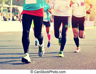 都市, 未確認, 動くこと, マラソン, 足, 運動選手, 道