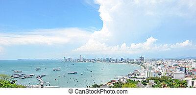 都市, 東, -, パノラマである, thail, pattaya, 浜, 光景