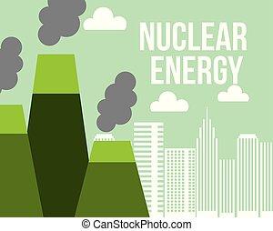 都市, 植物, エコロジー, 力, 核エネルギー