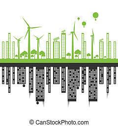 都市, 概念, に対して, ベクトル, エコロジー, 背景, 緑の風景, 汚染
