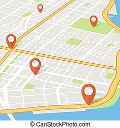 都市, 概念, ピン, 地図, abstarct, ベクトル, 見通し, pointers., 3d, ナビゲーション, gps