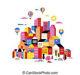 都市, 概念, 都市, イラスト, 現場, 風景, 幾何学的なバナー, 痛みなさい