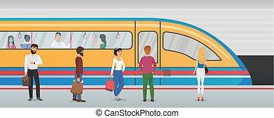 都市, 概念, passengers., 地下鉄, 人々, 列車の プラットホーム, ベクトル, 地下鉄, 地下, station.