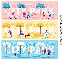 都市, 横, セット, 公園, 旗