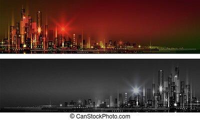都市, 横, 旗, 夜, スカイライン