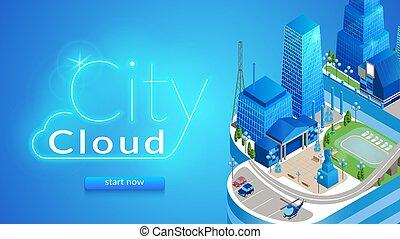 都市, 横, 雲, banner., 都市の景観, 未来派
