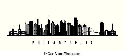 都市, 横, banner., スカイライン, フィラデルフィア