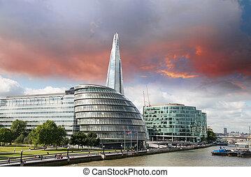 都市, 橋, -, 川, パノラマである, ロンドン, イギリス, 新しい, thames, タワー, ホール, 光景