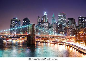 都市, 橋, brooklyn, ヨーク, 新しい, マンハッタン