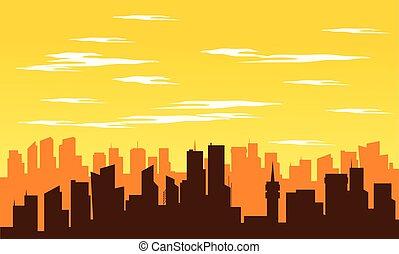 都市, 正午, シルエット, 大きい