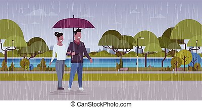 都市, 歩くこと, 恋人, 傘, ロマンチック, 都市, 背景, 恋人, 公園, 女, 雨, 長さ, フルである, 平ら, 特徴, 下に, 横, 風景, 人