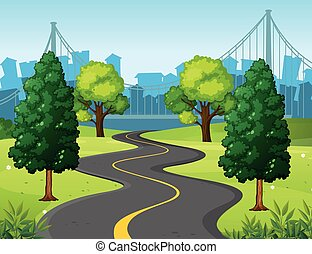 都市, 波状, 公園, 道