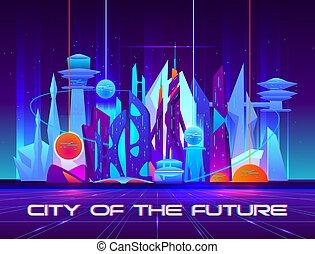都市, 活気に満ちた, ネオンライト, 未来, 夜