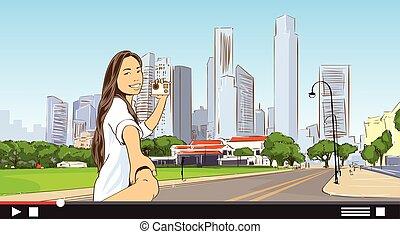 都市, 流れ, blogger, 現代, カメラ, ビデオ, アジア人, 背景, 都市の景観, 女の子