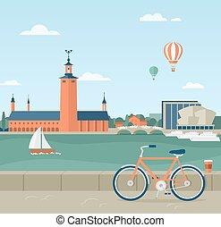 都市, 海岸, プロムナード, ストックホルム, ホール, 光景