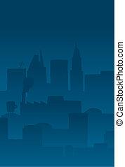 都市, 漫画, 背景, 夜