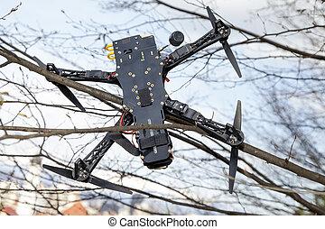 都市, 無人機, 公園, 木, 衝突される
