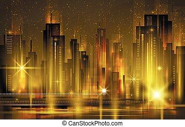 都市, 照らされた, イラスト, ベクトル, 夜, スカイライン