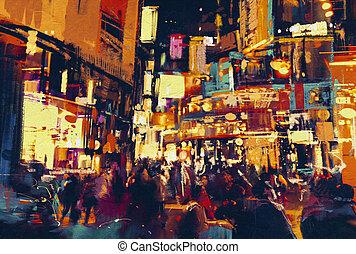 都市 生活, 夜で