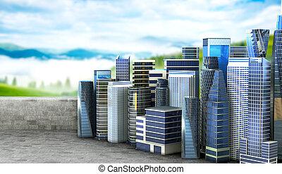 都市 生活, 概念, コンクリート, エコロジー, nature., イラスト, purity., プラットホーム, パノラマの光景, 3d