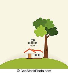 都市 生活, eco, concept., イラスト, ベクトル, 緑