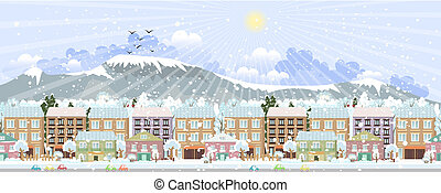 都市 生活, panorama., 冬