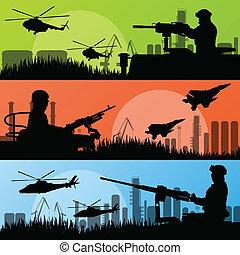 都市, 産業交通機関, 兵士, 軍隊, 工場, イラスト, ベクトル, ヘリコプター, 背景, 飛行機, 銃, 風景