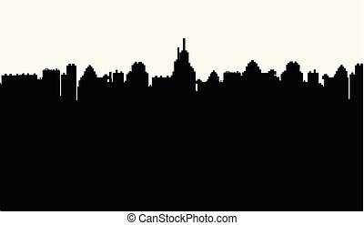 都市, 白, シルエット, 背景, 黒
