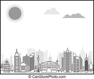 都市, 白, 黒