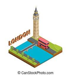 都市, 等大, イギリス\, ビジネス, 大きい, シンボル, 資本, バス, 有名, 英国, ロンドン, 英語, ランドマーク, ビュー。, ben., concept., 赤, 旅行