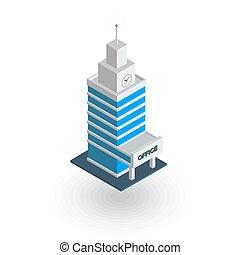 都市, 等大, オフィス, 平ら, ベクトル, 超高層ビル, icon., 建物, 都市, 3d