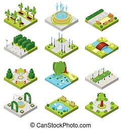 都市, 等大, セット, 庭, 公園用地, 緑公園, 隔離された, 木, ∥あるいは∥, ベクトル, 噴水, イラスト, 背景, 都市の景観, 池, 白, パークウェイ, 風景