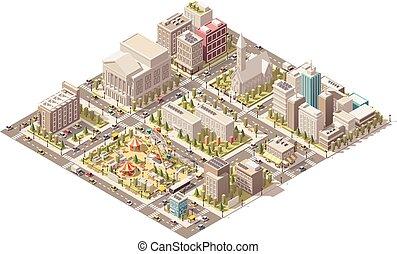 都市, 等大, ベクトル, 低い, poly