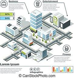 都市, 等大, ベクトル, illustration., map., 次元, infographic, 計画, 3d