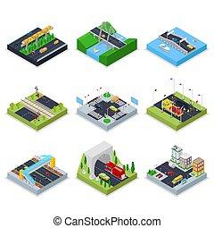 都市, 等大, 下部組織, 都市, 自動車, 平ら, 交差道路, ベクトル, イラスト, traffic., ...