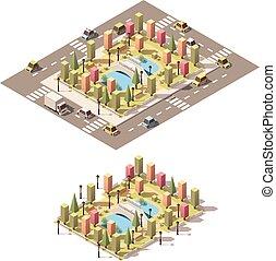 都市, 等大, 公園, poly, ベクトル, 低い