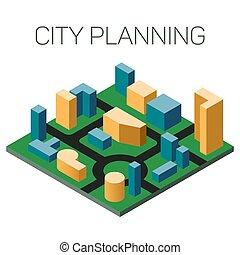 都市, 等大, 単純である, infographic, ベクトル, ナビゲーション, 概念