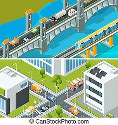 都市, 等大, 忙しい, バス, traffic., 自動車, イラスト, ベクトル, 様々, 風景, 車, 交差点, 都市, ハイウェー, 3d
