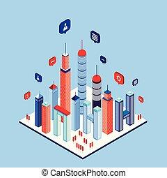 都市, 等大, 超高層ビル, 平ら, 現代, スタイル, スピーチ, 社会, 泡, ネットワーク