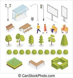 都市, 等大, city., elements., 人々。, 木, ベクトル, イラスト, plants.