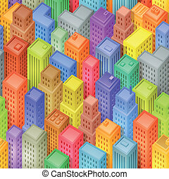 都市, 等大, seamless, 背景, 漫画